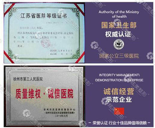 徐州三院所获证书
