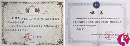 楚向杰医生获得的荣誉证书