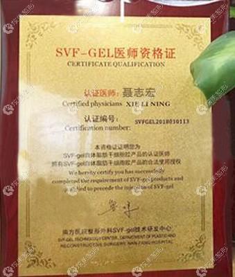 获得SVF-GEL合格证书的聂志宏院长
